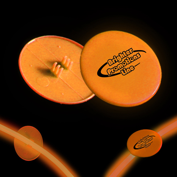 "Custom Orange 1 1/2"" Clip On Medallion for Glow Necklace & Bracelet"