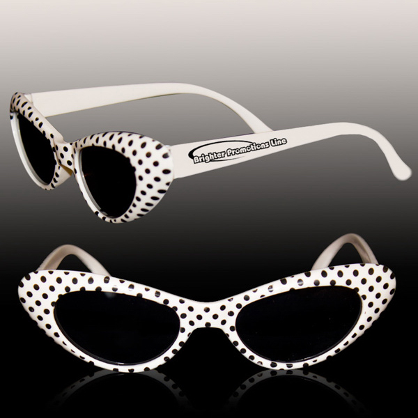 Customized White Polka Dot Funky costume sunglasses Glasses