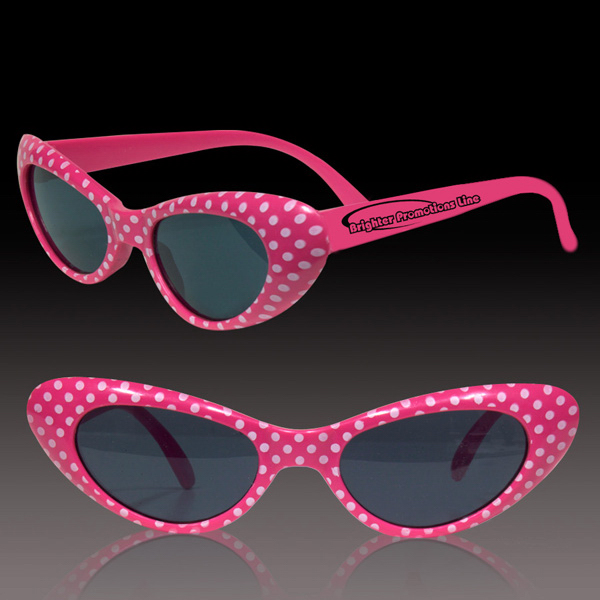 Imprinted Pink Polka Dot Funky Costume sunglasses Glasses