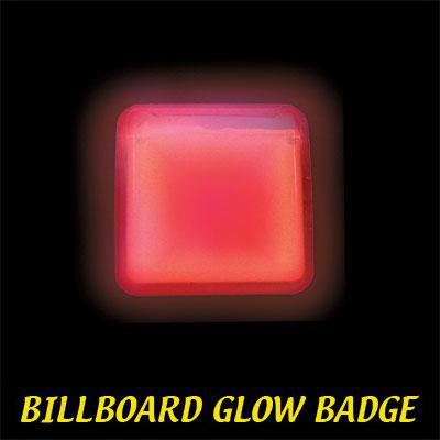 Imprinted Red Billboard Light Up Glow Name Badge