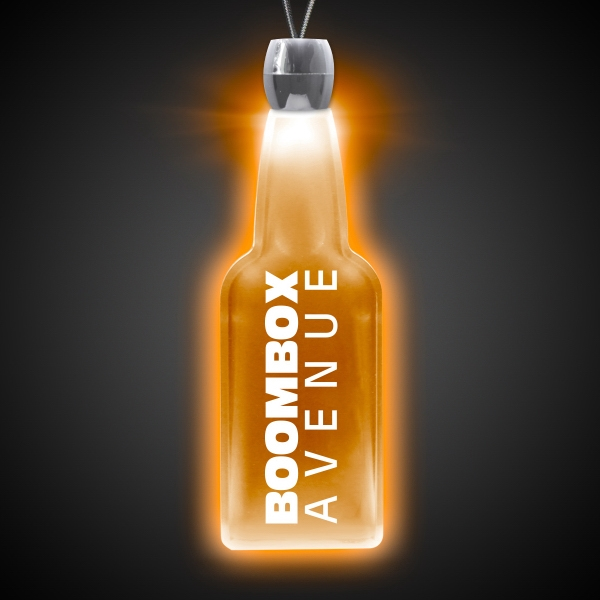 Personalized Bottle Amber Light-Up LED Acrylic Pendant Necklace