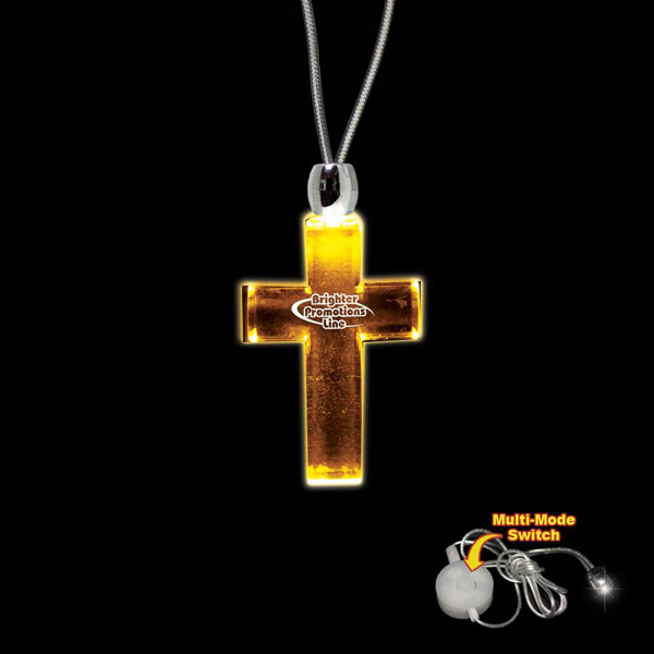 Printed Cross Amber Light-Up LED Acrylic Pendant Necklace