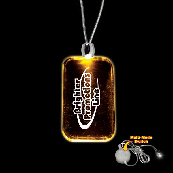 Imprinted Dog Tag Amber Light-Up LED Acrylic Pendant Necklace