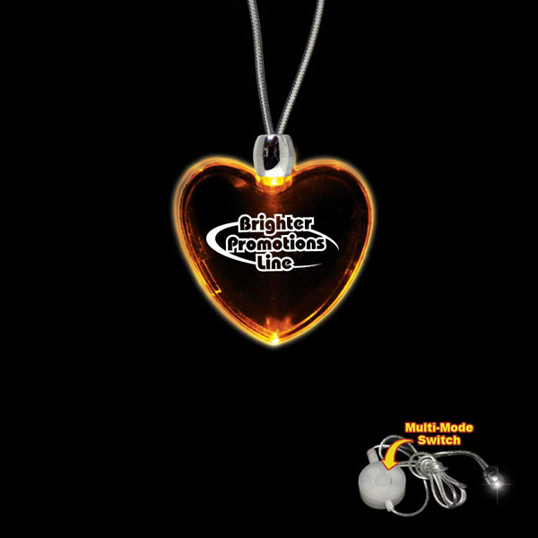Custom Heart Amber Light-Up LED Acrylic Pendant Necklace