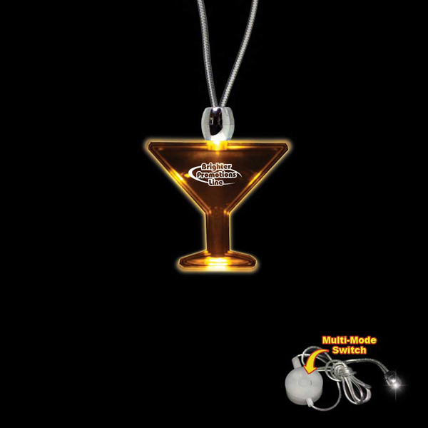 Personalized Martini Glass Amber Light-Up LED Acrylic Pendant Necklace