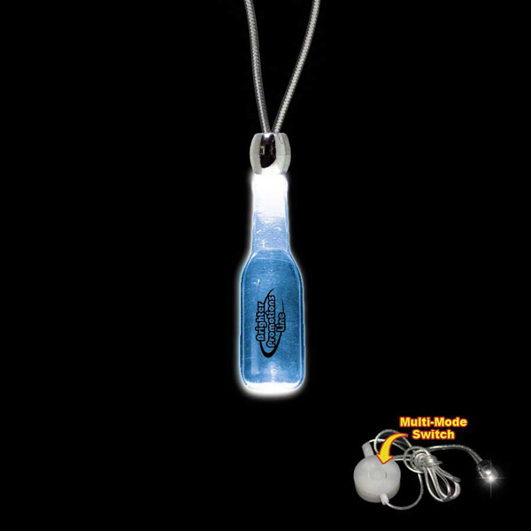 Custom Round Bottle Blue Light-Up Acrylic Pendant Necklace