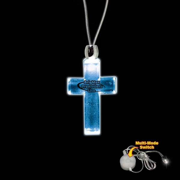 Printed Cross Blue Light-Up Acrylic Pendant Necklace