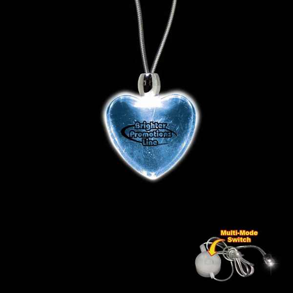 Imprinted Heart Blue Light-Up Acrylic Pendant Necklace
