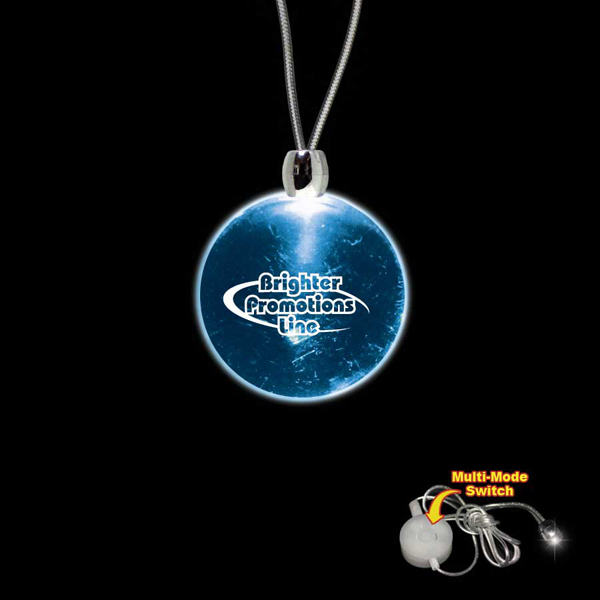 Promotional Round Blue Light-Up Acrylic Pendant Necklace