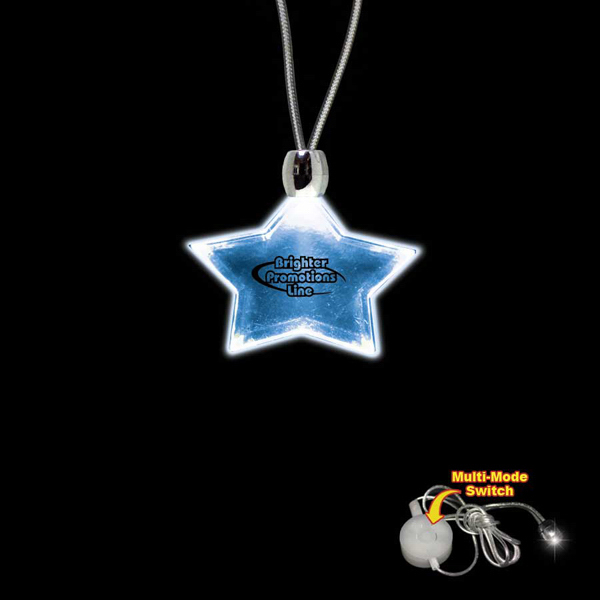 Personalized Star Blue Light-Up Acrylic Pendant Necklace