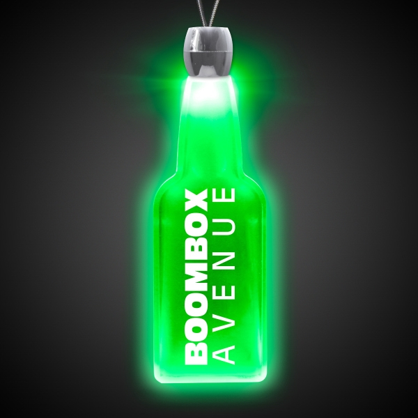 Imprinted Bottle Green Light-Up Acrylic Pendant Necklace