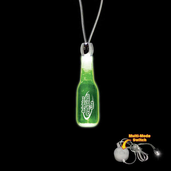 Imprinted Round Bottle Green Light-Up Acrylic Pendant Necklace