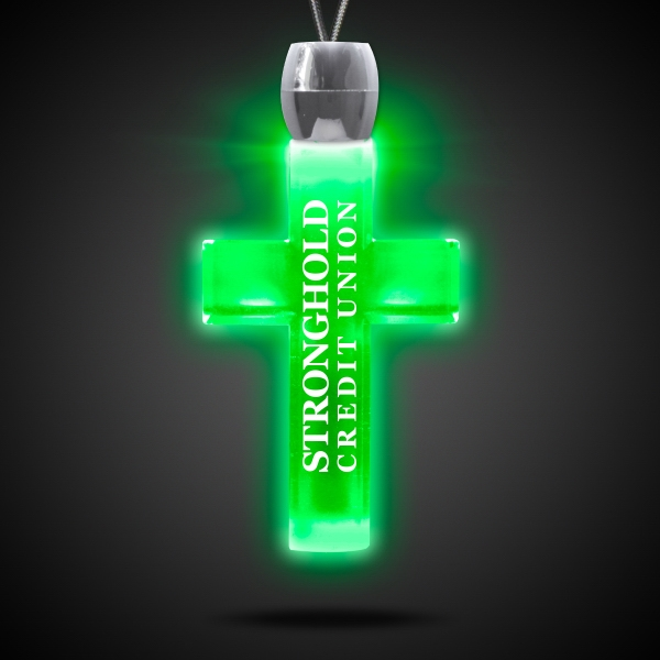 Customized Cross Green Light-Up Acrylic Pendant Necklace