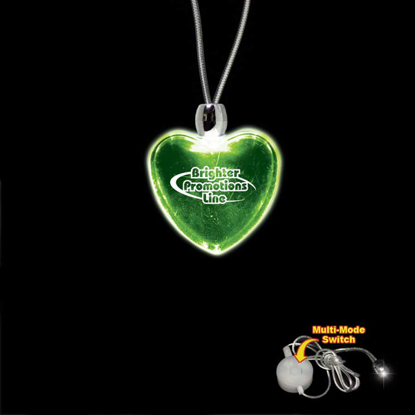 Imprinted Heart Green Light-Up Acrylic Pendant Necklace