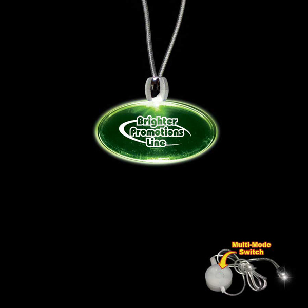 Custom Oval Green Light-Up Acrylic Pendant Necklace