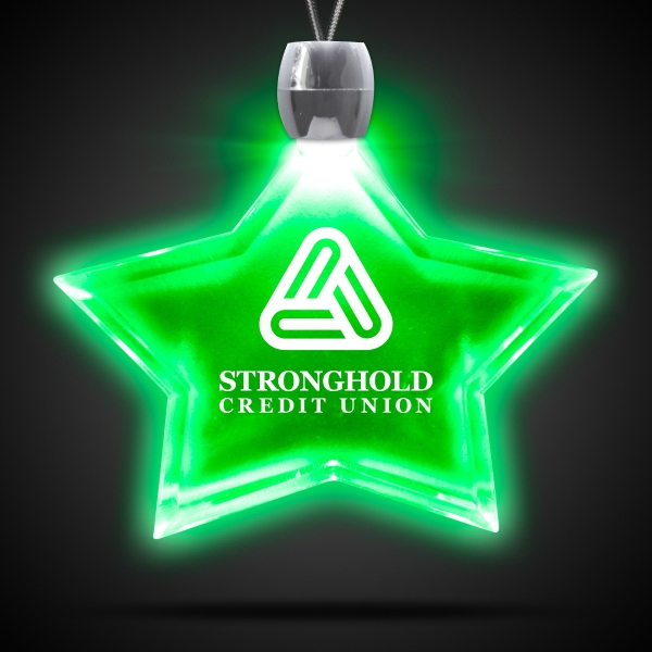 Promotional Star Green Light-Up Acrylic Pendant Necklace