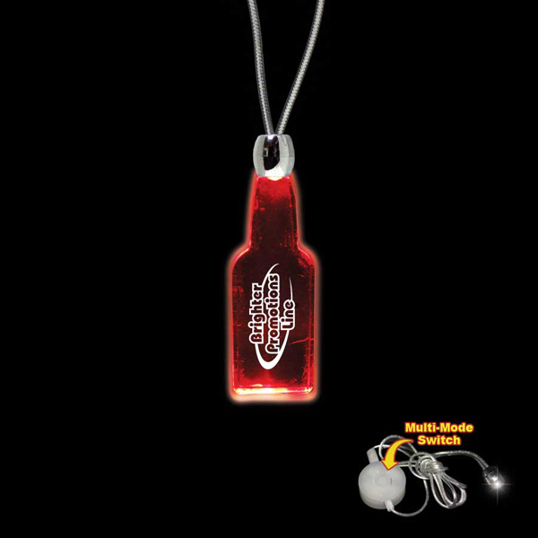 Promotional Bottle Red Light-Up Acrylic Pendant Necklace