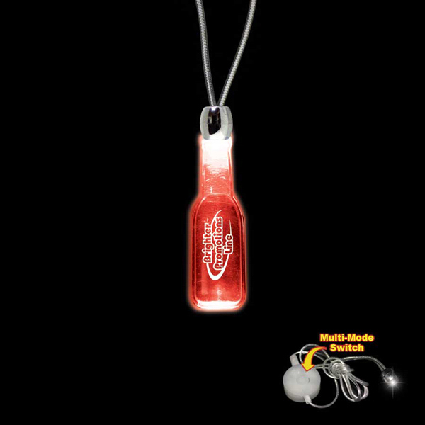 Promotional Round Bottle Red Light-Up Acrylic Pendant Necklace