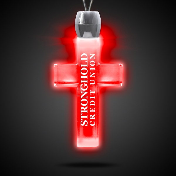 Promotional Cross Red Light-Up Acrylic Pendant Necklace