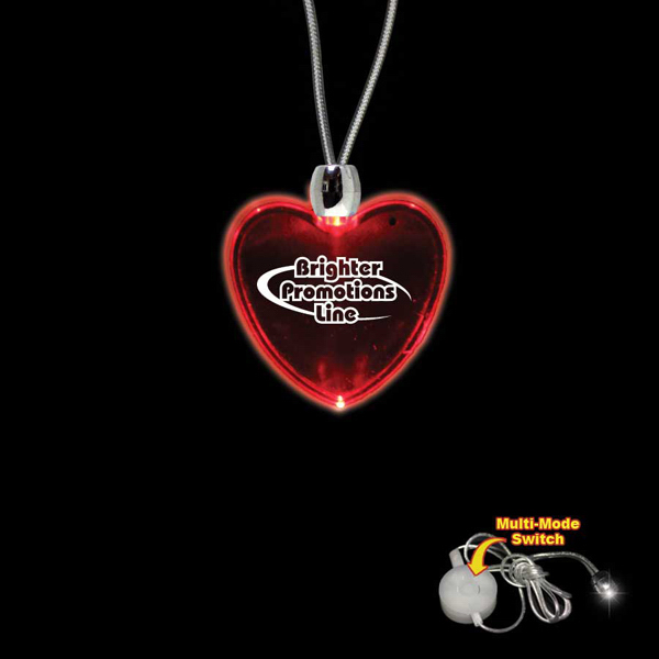 Promotional Heart Red Light-Up Acrylic Pendant Necklace