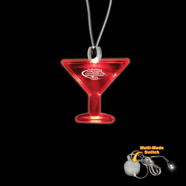 Custom Martini Glass Red Light-Up Acrylic Pendant Necklace