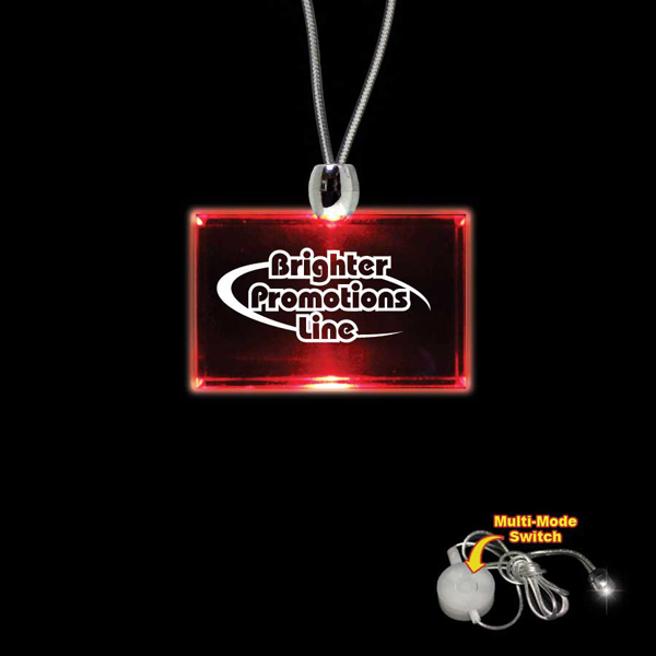 Custom Rectangle Red Light-Up Acrylic Pendant Necklace