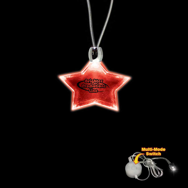 Imprinted Star Red Light-Up Acrylic Pendant Necklace