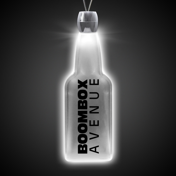 Promotional Bottle White Light-Up LED Acrylic Pendant Necklace