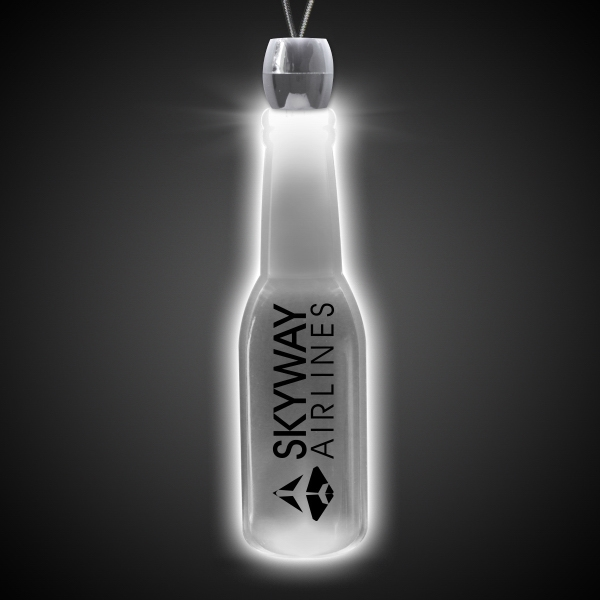 Custom Round Bottle White Light-Up LED Acrylic Pendant Necklace