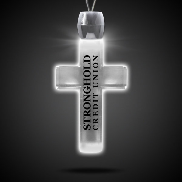 Custom Cross White Light-Up LED Acrylic Pendant Necklace
