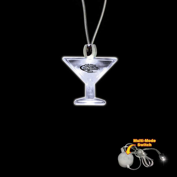 Imprinted Martini Glass White Light-Up Acrylic Pendant Necklace
