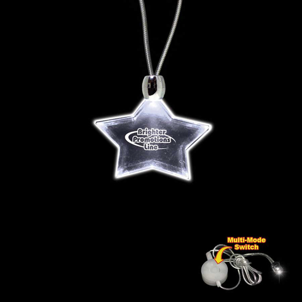 Custom Star White Light-Up LED Acrylic Pendant Necklace