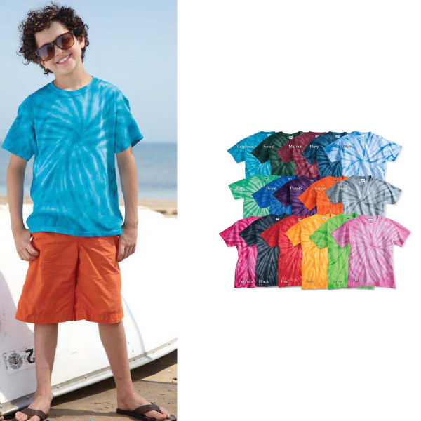 Customized Tie-Dyed Youth Cyclone Vat-Dyed T-Shirt