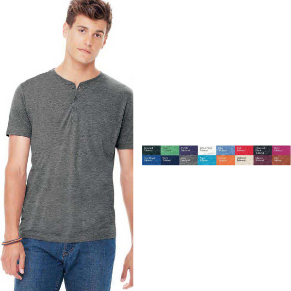 Imprinted Bella + Canvas (R) Triblend Short Sleeve Henley