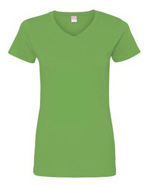 Customized LAT Ladies Fine Jersey V-Neck Longer Length T-Shirt