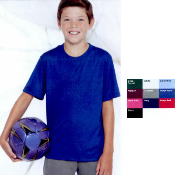 Printed Hanes (R) Youth Cool Dri (R) Short Sleeve Performance Tee
