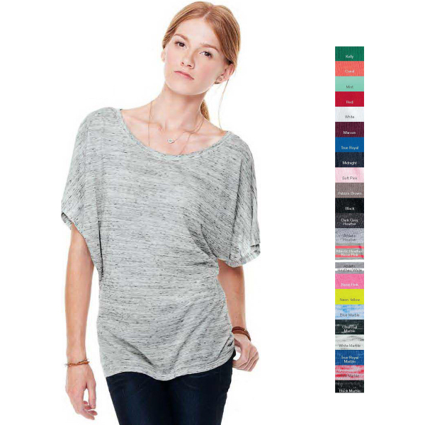 Customized Bella + Canvas Ladies' Flowy  Draped Sleeve Dolman T-shirt