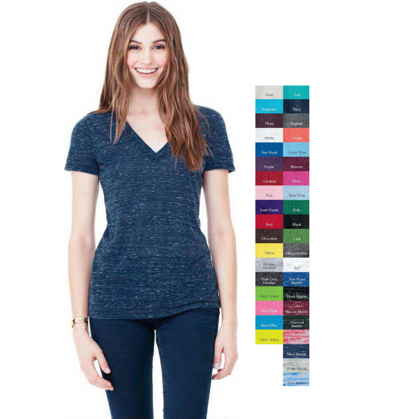 Printed Bella + Canvas Jersey Deep V-neck T-shirt