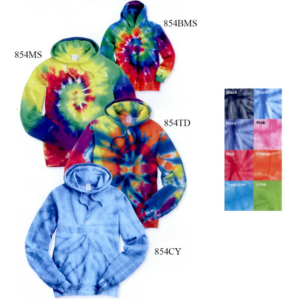 Promotional Tie-dyed Multi-Color Spiral Hooded Pullover Sweatshirt
