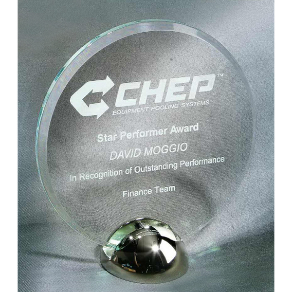 Customized Disk Hemisphere Jade Acrylic Award with Base