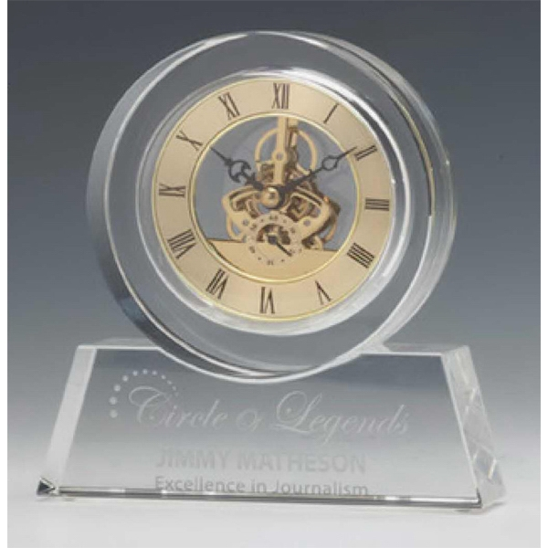 Customized Tondo Optical Crystal Clock with Gold Accents