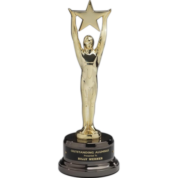 Imprinted Star Achievement 24K Gold-plated Award on Black Nickel Base