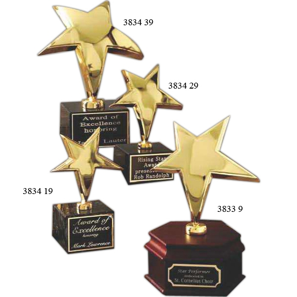 "Promotional 9 1/2"" 24K Gold Rising Star Award with a Marble Base"