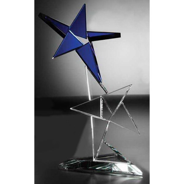 Customized Double Star Nebula Starfire Crystal Award