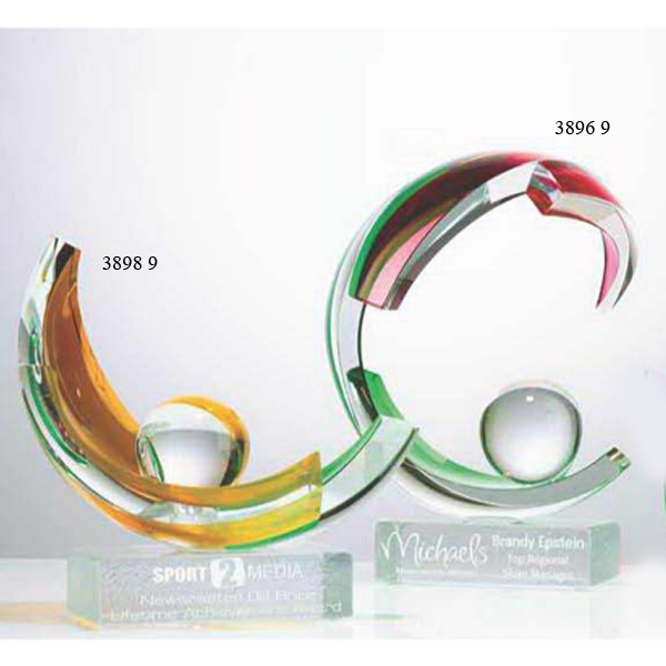 Imprinted Amber Sphere Art Glass Award