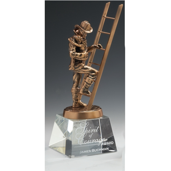 Customized Fireman Trophy on Optical Crystal Base