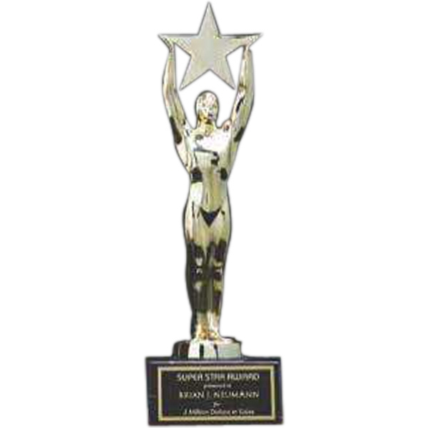 Printed Star Achievement Gold-Plated Award with Black Marble Base