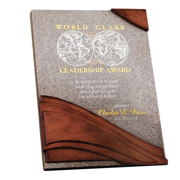 Custom Wave Moonstone Wall Plaque Award