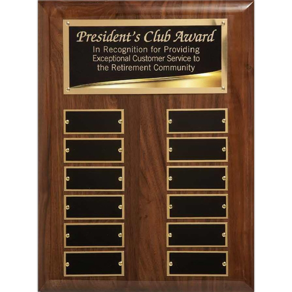 Printed Liquid Gold Walnut Piano Finish Perpetual Plaque