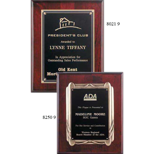 Customized Rosewood Piano Finish Plaque with Antique Bronze Frame
